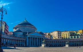 Picture area, Italy, Church, lantern, architecture, statues, Italy, Naples, Naples, San Francesco di Paola Basilica, Piazza …