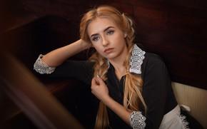Picture look, girl, pose, portrait, braids, uniform, Christina, licr, Anna Shuvalova