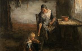 Picture oil, picture, canvas, 1922, Jacob Simon Hendrik Kever, Jacob Simon Hendrik Kever, Potato peeler