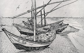 Picture boats, pier, the river, Fishing Boats, on the Beach at Saintes-Maries