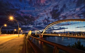 Picture the sky, night, bridge, France, lights, channel, Strasbourg