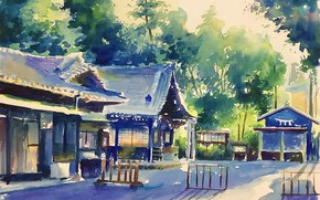 Picture nature, morning, temple, дереаья