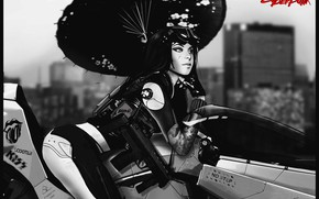 Picture Girl, Style, Girl, Umbrella, Bike, Weapons, Umbrella, Fantasy, Art, Style, Fiction, Cyber, Science Fiction, Black …