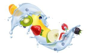 Picture white, water, background, splash, fruit