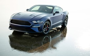 Picture Mustang, Ford, front view, 2018, Bullitt, Kona Blue