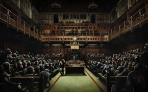 Picture picture, Banksy, Devolved Parliament, Monkeys in the British Parliament