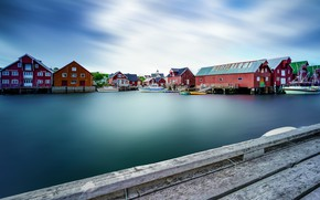 Picture the sky, home, boats, Norway, Bay, piers, The Lofoten Islands, Lofoten