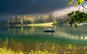 Picture forest, grass, water, trees, nature, lake, reflection, boat, silence, people