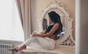 Picture chest, girl, mirror, legs, sitting, Olga Liferova