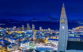 Picture night, lights, tower, home, Iceland, Reykjavik, Hallgrimskirkja
