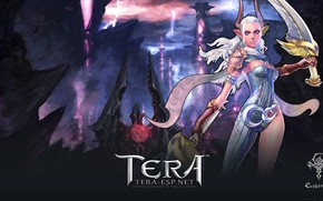 Picture girl, the demon, warrior, horns, Tera