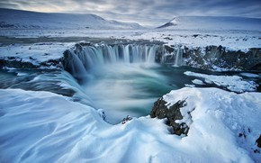 Picture winter, waterfall, Iceland, Godafoss