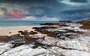 Picture England, Cornwall, lighthouse Godrevy, Bay St Ives