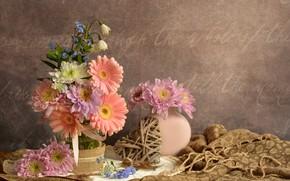 Picture flowers, heart, fabric, vase, still life, gerbera