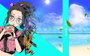 Picture girl, style, Nezuko Kamado, The Blade Cleaves Demons, Demon Slayer Kimetsu No Yaiba