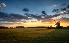 Picture field, sunset, windmill