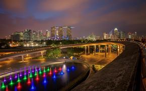 Wallpaper Singapore, Singapore city, lake, lights, the city, road, Singapore, bridge