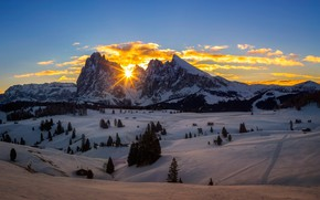 Picture winter, the sky, the sun, rays, snow, trees, mountains, sunrise, rocks, valley, Italy, South Tyrol, …