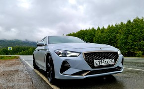 Picture road, car, machine, the sky, trees, lights, room, front, Genesis, cloudy weather, G70, Genesis G70, …