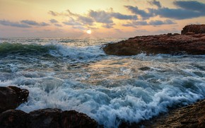 Picture sea, beach, wave, morning