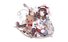 Picture girl, Christmas, anime, beautiful, pretty, brunette, attractive, handsome, Azur Lane, Mutsuki