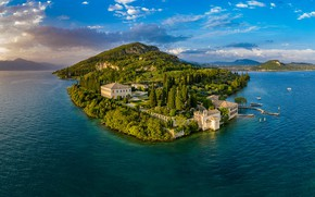 Picture landscape, nature, lake, building, home, Italy, Garda