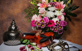 Picture violin, Lily, roses, bouquet, mask, still life, chrysanthemum, Computer design