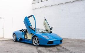Picture Blue, Lamborghini Murcielago, Supercar, Scissor doors