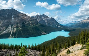 Picture forest, the sky, clouds, mountains, lake, blue, shore, view, ate, Canada, Albert, pond, Banff