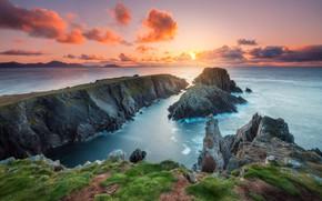 Picture sea, the sky, grass, the sun, clouds, sunset, stones, open, rocks, hills, shore, horizon, surf, …