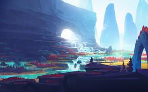 Picture fantasy, river, trees, landscape, nature, man, waterfall, Mountains, digital art, artwork, fantasy art, illustration, fantasy …