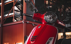 Picture red, building, Vespa, scooter, Piaggio