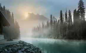 Picture trees, landscape, mountains, nature, fog, lake, house, dawn, morning, ate, forest