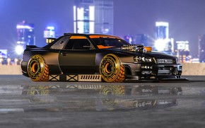 Picture Auto, Machine, Tuning, Style, Car, Fiction, Science Fiction, Cyberpunk, Nissan Skyline R34, Transport & Vehicles, …