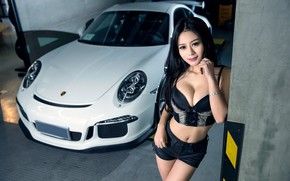 Picture look, Girls, Porsche, Asian, beautiful girl, white car, against the machine