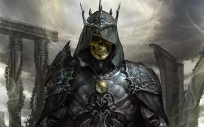 Picture skull, armor, crown, fantasy, skeleton, dark fantasy