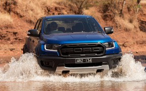Picture water, blue, Ford, Raptor, pickup, 2018, Ranger, Ford