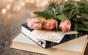 Picture background, books, roses, bouquet, glasses