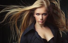 Wallpaper girl, bra, long hair, photo, photographer, blue eyes, model, lips, face, coat, blond, portrait, black ...