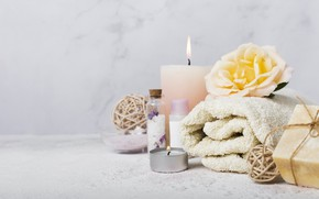Picture flower, towel, candles, soap, Spa, aroma oil