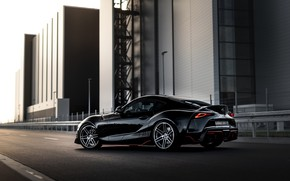 Picture the city, black, street, coupe, Toyota, Supra, the fifth generation, mk5, Manhart, double, 2020, GR …