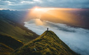 Picture the sky, the sun, clouds, rays, light, mountains, fog, river, sunrise, open, dawn, hills, the …
