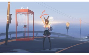 Picture auto, girl, road, school uniform, ears, phone booth