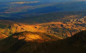 Picture the sky, color, light, landscape, mountains, blue, yellow, nature, stones, rocks, hills, haze, shades