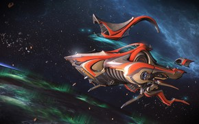 Picture space, spaceship, Warframe, spaceship