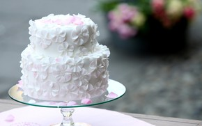 Picture white, cake, decoration, flowers, wedding