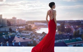 Picture the city, model, dress, panorama, fashion