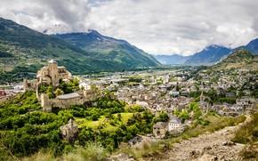 Picture mountains, the city, Switzerland, Switzerland, Sion, medieval architecture, вид с Шато де Турбийон, view from …