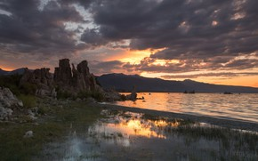 Picture sunset, mountains, stones, rocks, pond