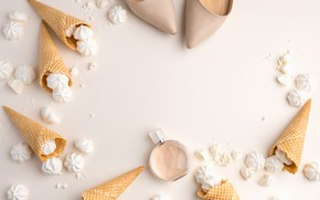 Picture white, shoes, white, horn, beautiful, wedding, marshmallows, tender